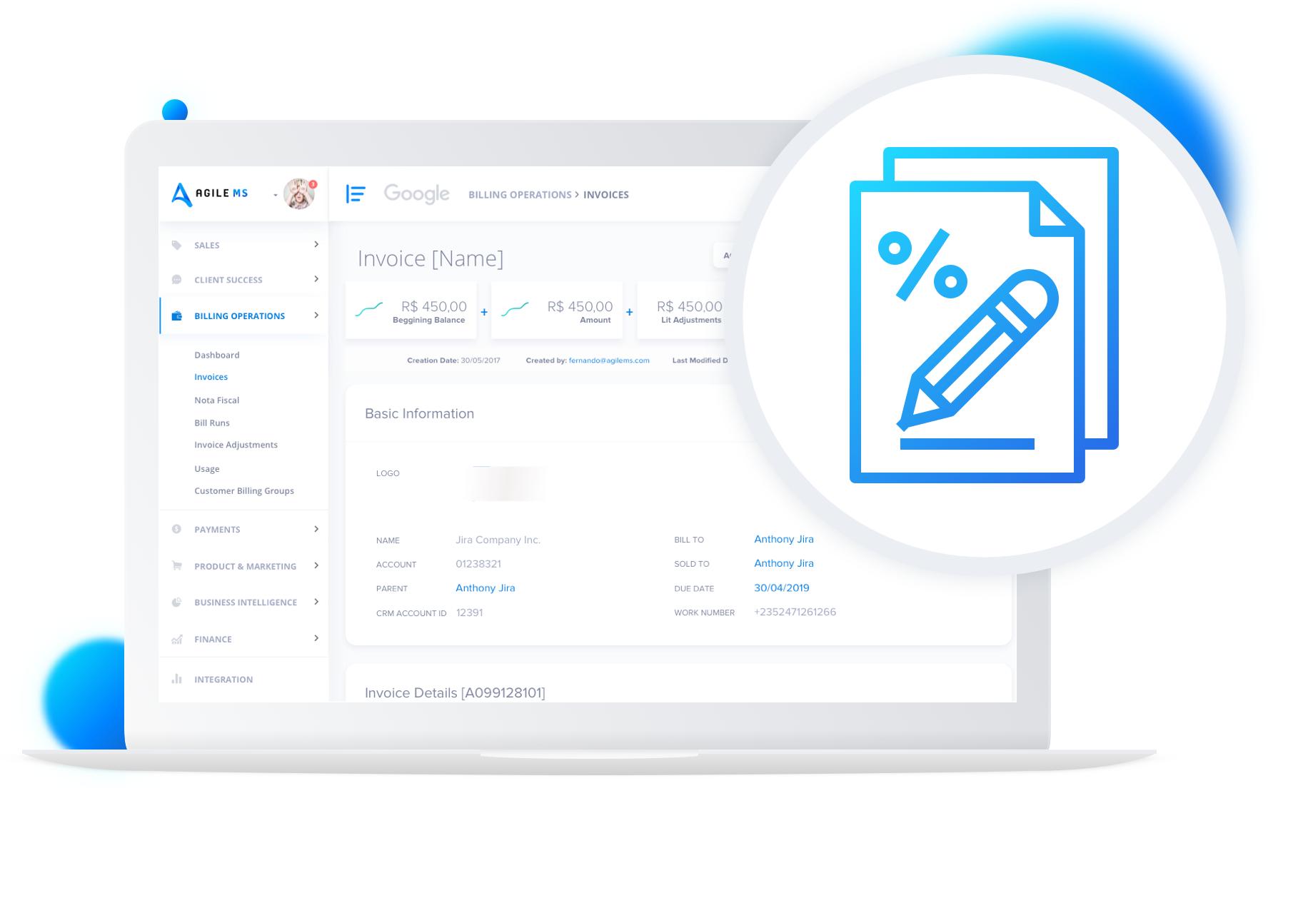 Interface AgileMS das Billing Operations, presente na página de produto sobre fatura.