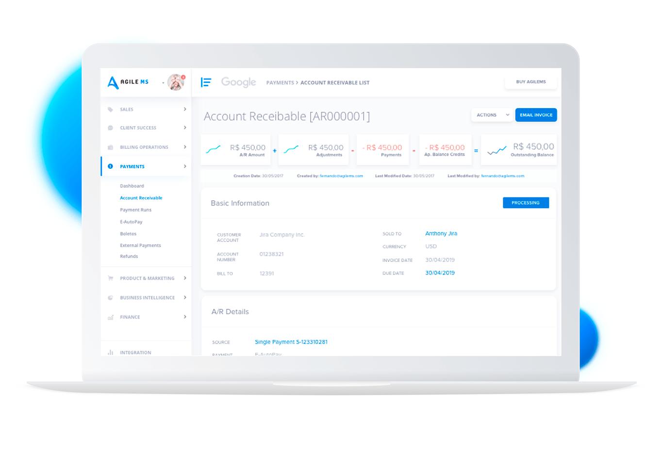 Imagem que ilustra o produto AgileMS, mostrando a tela de pagamentos.